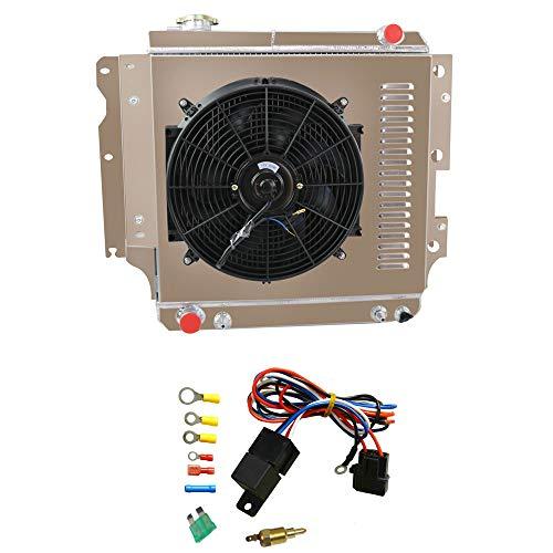 OzCoolingParts 3 Row Core All Aluminum Radiator + 16' Fan w/Shroud + Relay Wire Kit for 1987-2006 88 89 90 91 92 93 94 95 96 97 98 99 00 01 02 03 04 05 Jeep Wrangler YJ TJ 2.4L 2.5L 4.0L 4.2L, L4 L6