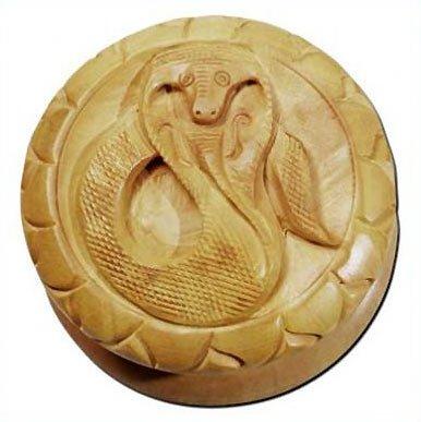 Grinder Kräutermühle Sisham Holz mit Schlangen Motiv Kobra Snake