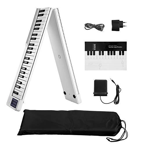 SEAAN Piano eléctrico plegable de 88 teclas, Bluetooth, MIDI, pedal de salida, aplicación inteligente con práctica de juego, 128 tipos de afinación de piano eléctrico, color blanco