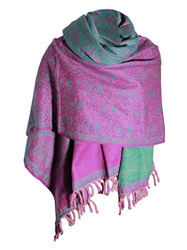 Handgefertigter luxuriöser Schal mit Blumenmuster, hellviolett, als Dekoration oder Decke, Übergröße, wendbar, Winterschal aus reiner Yak-Wolle