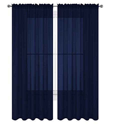 "Luxury Discounts 2 Piece Solid Elegant Sheer Curtains Fully Stitched Panels Window Treatment Drape (54"" X 95"", Navy Blue)"