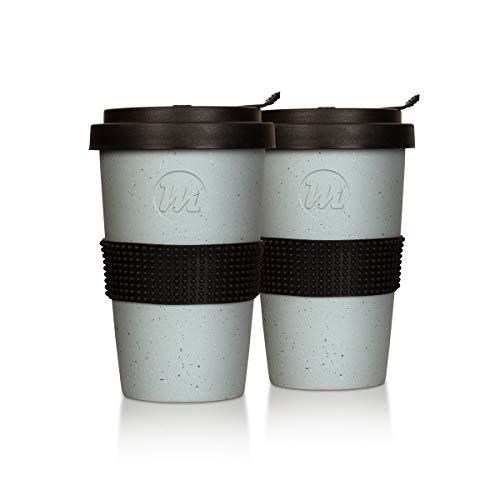 Mahlwerck Kaffeebecher to go, Porzellan Kaffee to go Becher mit auslaufsicherem Deckel, 2er Set, Beton-Design, 350ml