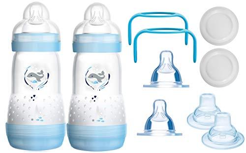 MAM das mitwachsende Flaschen Set - Anti Colic Flaschen, Sauger, Griffe, Schnäbel - 10 teilig - Junge
