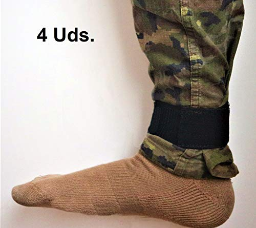 NoLimit20 Pernera Militar táctico-Sujeta pantalón Senderismo-Trekking-montaña-Escalada-Velcro elástico tobillero-Ciclismo-sujeta espinilleras fútbol [Negro.Talla única 5x30cm.]