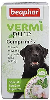 BEAPHAR – VERMIPURE – Comprimé hygiène digestive pour chien de moyenne à grande taille >15kg – Actifs naturels de plante – Lutte contre l'indigestion – Renforce le système immunitaire – 50 comprimés