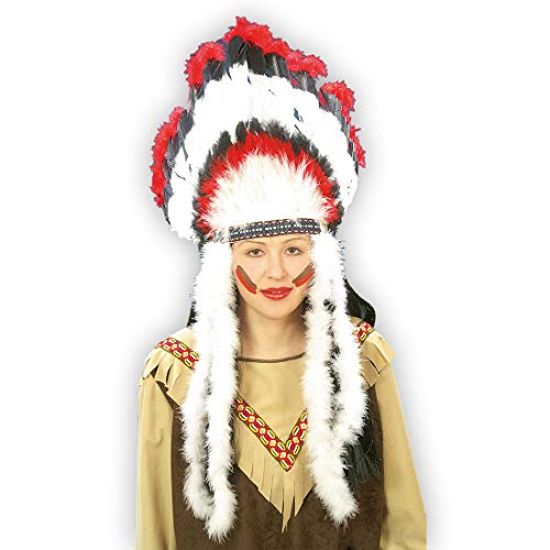Amakando Llamativo Adorno de Plumas Cacique Indio para Hombre / Blanco con Acentos Rojos y Negros / Accesorio para Disfraz Apache para Adulto / El Centro de miradas para Carnavales y Festivales