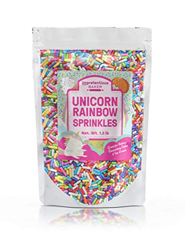 Rainbow Sprinkles Unpretentious Baker, Rainbow Jimmies, Gluten Free, Kosher, Clear Resealable Bag (1.5 lb)