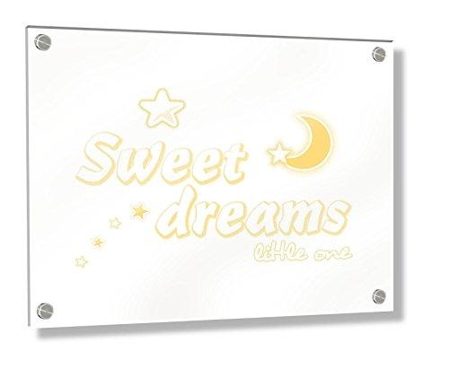 Feel Good Art Cadre mural en acrylique avec boulons suspendus 30 x 20 x 0,6 cm, petite tasse à papillons Jaune Sweet Dreams Little One/Nursery Dècor)