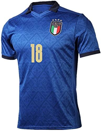 MINIDORA FIGC Italia Maglia da Calcio Nazionale Calcio Maglia per Uomo Adulto Maschio 2021 UEFA Euro FIGC Italia Maglie da Calcio per Tifosi Lorenzo Insigne Paolo Rossi S(160-165cm,18 Barella