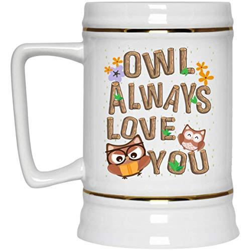 N\A unny Pun Owl Always Love You Taza de café de cerámica, Jarra de Cerveza, Botella de Agua, Taza Que Cambia de Color, tamaño único, 22 oz. Jarra de Cerveza/Blanca
