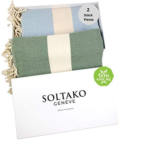 SOLTAKO 2 toallas de playa Fouta, tamaño XXL, toalla de sauna, toalla de baño, toalla de hamam, manta de yoga, pestemal, en azul cielo y caqui, extra grande, 100 x 200 cm
