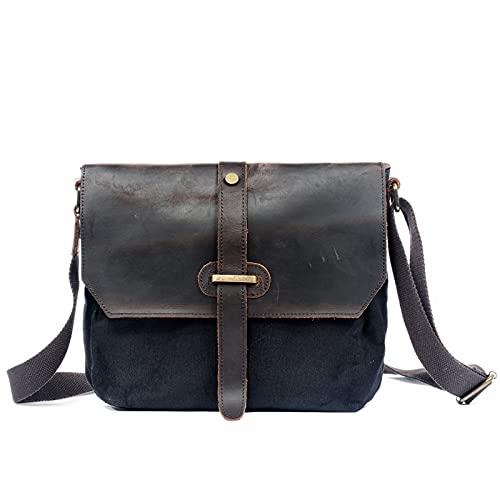 QYHSS Unisex Hard Shoulder Bag mit Leder,Outdoor Freizeit Sport Messenger Bags,Trendy Herren Damen Messenger Rucksack,Khaki/Grün/Schwarz/Dunkelgrau,22 * 5 * 28cm*