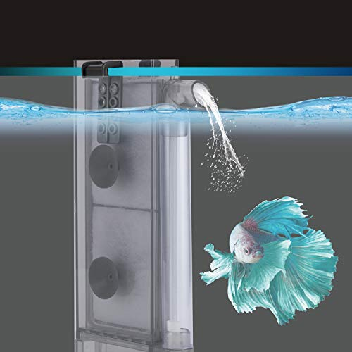 hygger Thin Aquarium Sponge Filter, in-Tank Filter with 2 Replaceable Spare Filter Cartridge,Quiet Hang On Fish Tank Filter with Suction Cup for 2 to 10 Gallon (S