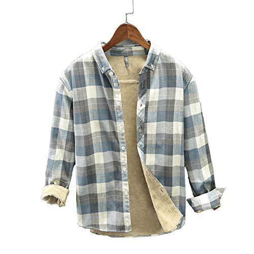 Herren Fleece Gefüttert Karohemd, Dicke Sherpa Plaid Jacke Langarm Revers, Winter Warm Lässig Holzfäller Shirt, Fleece Gefüttert Plaid Button Down Flanell Shirt Jacke (Blue Plaid,L)