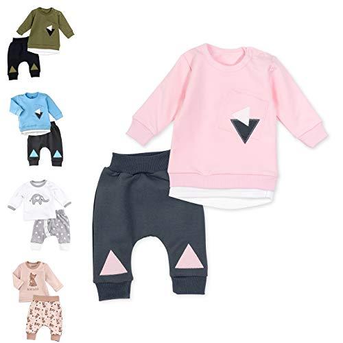Baby Sweets 2er Baby-Set mit Hose & Shirt für Mädchen/Baby-Erstausstattung in Rosa & Grau im Triangle-Motiv/Baby-Kleidung aus Baumwolle/Baby-Outfit in Größe: 6-9 Monate (74)