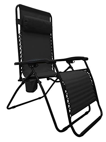Caravan Sports BGC01051 Big Boy Infinity Zero Gravity Cup Holder Lounge Chair, Black