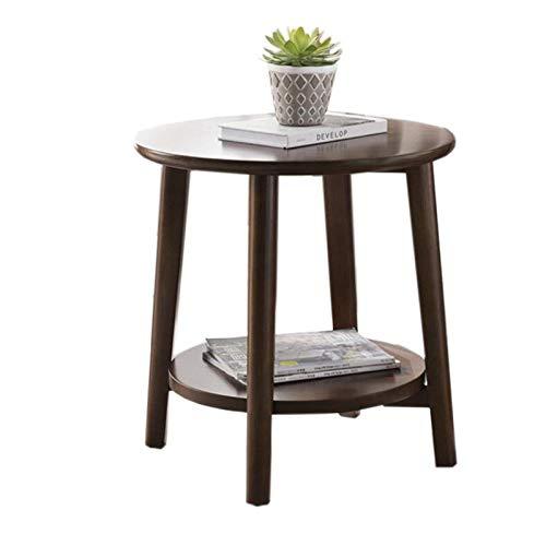 Nueva mesa auxiliar, mesas, mesa auxiliar redonda de roble de 2 capas, mesita de noche moderna, mesa de centro decorativa para sala de estar, dormitorio, balcón, familia y oficina, mesa de centro de 3