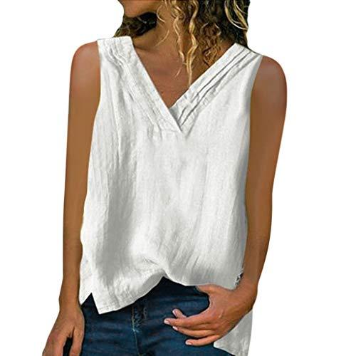 Tops Shirt Frauen V-Ausschnitt lose ärmellose Bluse T-Shirt Weste (XXL,Weiß)