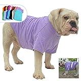 lovelonglong Bulldog Ropa Perro Ropa Blank Camiseta Camisetas para French Bulldog English Bulldog American Pit Bull Pugs 100% Algodón Cuidado de la Piel Violeta B-S