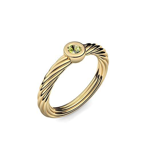 Goldring Peridot 585 + inkl. Luxusetui + Peridot Ring Gold Peridotring Gold (Gelbgold 585) - Twisted Amoonic Schmuck Größe 58 (18.5) AM280 GG585PEFA58