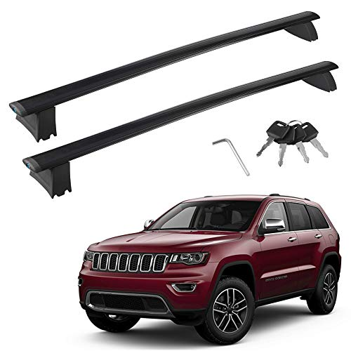 Richeer Roof Rack Cross Bars Compatible with Grand Cherokee 2011-2021 with Grooved Side Rails,Aluminum Cross Bar with Anti-Theft Locks for Cargo Racks Rooftop Luggage Canoe Kayak Bicycle Roof Bag