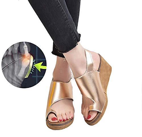 XQYPYL Sommer Strand Reise Schuhe Plattform Sandale für Frauen Damen Casual Große Zehe Knochen Korrektive Behandlung Big Toe Valgus rutschfest Atmungsaktiv Bequem,02,39
