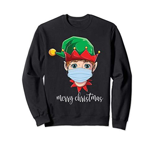 Merry Christmas 2020 quarantine mask cute elf wearing mask Felpa