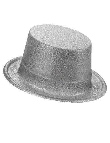 DEGUISE TOI - Chapeau Haut de Forme Plastique pailleté Argent Adulte - Taille Unique