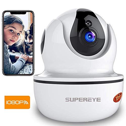 Supereye 1080P Telecamera di Sorveglianza WiFi, videocamera IP Interno Wireless con Visione Notturna HD, Audio Bidirezionale, Notifiche in tempo reale del sensore di movimento, Allarme via App