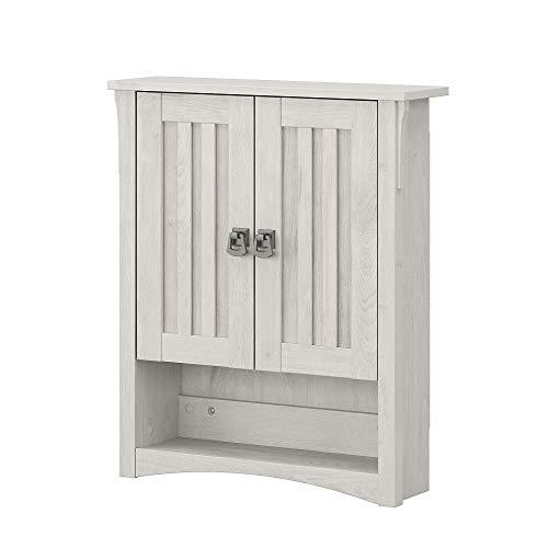 Bush Furniture Salinas Bathroom Wall Cabinet with Doors, Linen White Oak