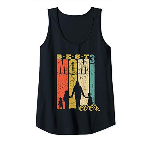 Mujer Best Mom Ever triple mamá Madre con 3 hijos Camiseta sin Mangas