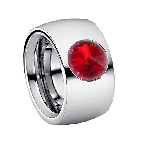 Heideman Ring Damen Coma 14 aus Edelstahl Silber farbend poliert Damenring für Frauen mit Swarovski Stein Kristall siam rot im Fantasie Edelsteinschliff 10mm