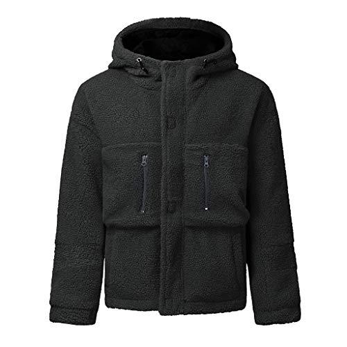 Homme Veste Polaire Teddy Zippé Sweat-Shirt à Capuche Manteau Hoodie Chaud Automne Hiver Chaud Manteaux avec Fermeture éclair Mode Chic Poche Cebbay(Gris,XL)