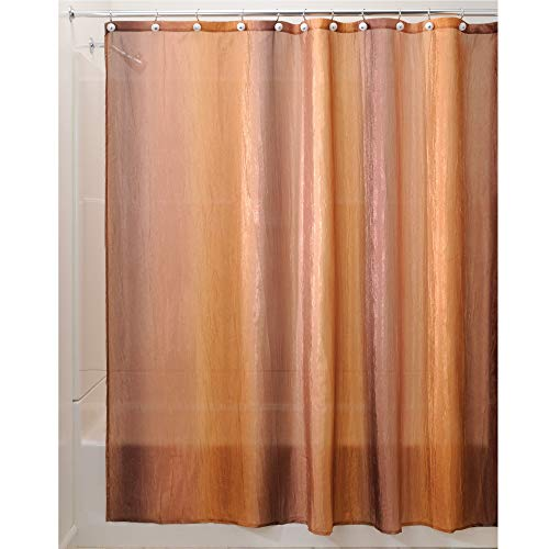 "iDesign Ombre Fabric Shower Curtain Water-Repellent and Mold- and Mildew-Resistant for Master, Guest, Kids', College Dorm Bathroom, 72"" x 72"", Brown and Gold"