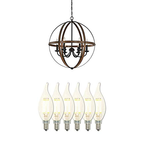Westinghouse Lighting 6333600 Stella Mira Six-Light Chandelier, Barnwood Finish with Six 40-Watt Equivalent Dimmable LED Flame-Tip Candelabra Filament Bulbs