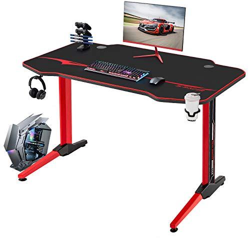 JUMMICO Gaming Tisch Racing Style Computertisch Gamer Tisch 110 cm Großer T-förmiger Schreibtisch mit Getränkehalter und Kopfhörerhalter (Red)