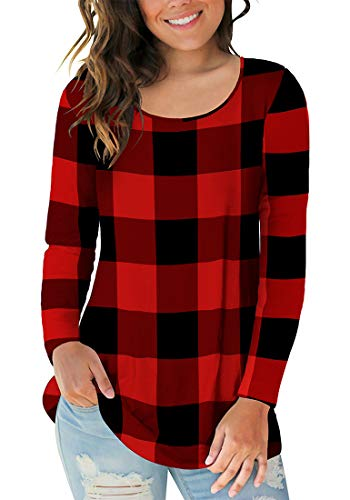 Sousuoty Plaid Shirts for Women Winter Long Sleeve Scoop Neck Christmas Tunic Tops Red XL