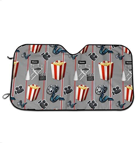 Sunny R Movies Watcher Popcorn Parabrisas Plegable Sombrilla para Auto Ventana Delantera Visor Protector Cubierta Mantenga el Vehículo Fresco 51×27.5 Pulgadas