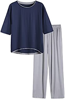 Image of Comfy Gray and Blue Half Sleeve Bamboo Pajama Sets for Women - See More Colors