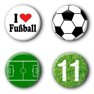 4 Fußball Buttons Ansteckbuttons Pins (2,5cm)