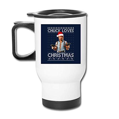 Nanobibi Chuck Norris Loves Christmas Knit Vaso de Acero Inoxidable de 16 oz, Taza de café, Tapa a Prueba de Salpicaduras, Bebidas frías