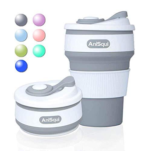 coffee to go becher faltbar, (350ml 12oz, 100% Lebensmittelqualität Silikon BPA-frei kaffeebecher faltbar) by AniSqui - Grau