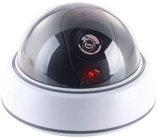 VisorTech Kamera Attrappe: Dome-Überwachungskamera-Attrappe mit durchsichtiger Kuppel und LED (Dummy Kamera)
