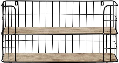 Wandregal Küchenregal Holz Metall Regal Shabby Industrie Gewürzregal Gewürzboard 2 Böden 2 Etagen-48 x 29 x 12 cm