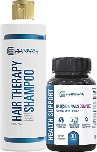 Clinical Effects: Hair Therapy Shampoo and Hair, Skin and Nails Complex Bundle – Hair Growth Shampoo & Dietary Supplement - Advanced Biotin Formula – 8 Fl Oz Shampoo + 30 Capsules - Hair Loss Solution