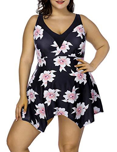 FeelinGirl Damen Badeanzug Bademode Bauchweg Print Flower Beach Bikini Set Tankini Oberteile Top Plus Size XL Gold