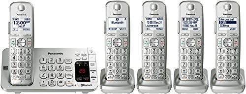 Panasonic KX-TGE475S Link2Cell Bluetooth Cordless Phone with Answering Machine- 5 Handsets