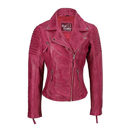 Xposed - Giacca da motociclista da donna, stile vintage, Slim Fit, in vera pelle, taglia UK 6 – 24, Rosa (rosa), Small