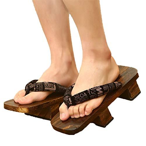 XPuing Herren Bühnenperformance Geta Japanische Holzhausschuhe Clogs Flip Flops Sandalen Schuhe (Schwarz B, numeric_44)