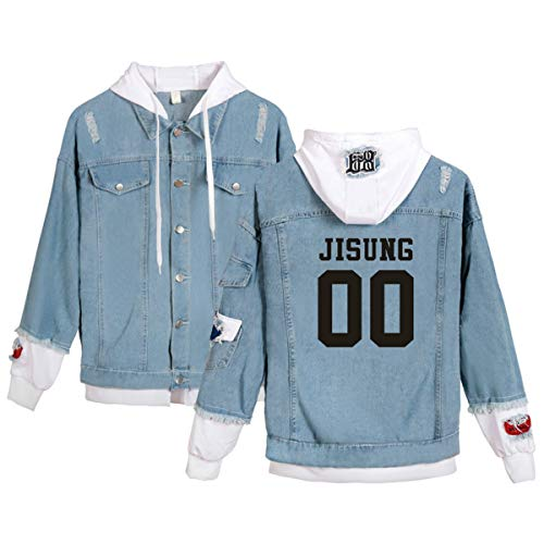 Forever Younger Stray Kids Yellow Wood Jacke Mäntel Outwear Langarm gedruckt lässig Hoodie Sweatshirt Minho Jisung Woojin Changbin Felix (2,XL)